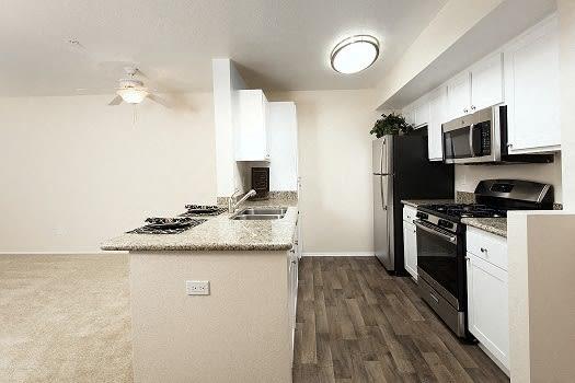 Kitchen, Living Room View at 55+ FountainGlen Pasadena, California, 91101