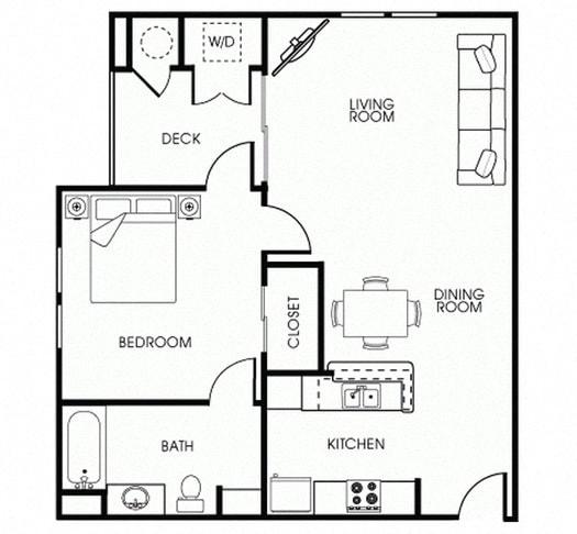 Floor Plan  Green 1Bed_1Bath at 55+ FountainGlen Seacliff, California, 92648