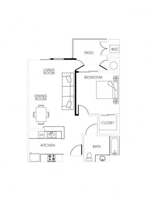 Floor Plan  Mission 1Bed_1Bath at 55+ FountainGlen Seacliff, Huntington Beach, CA, 92648