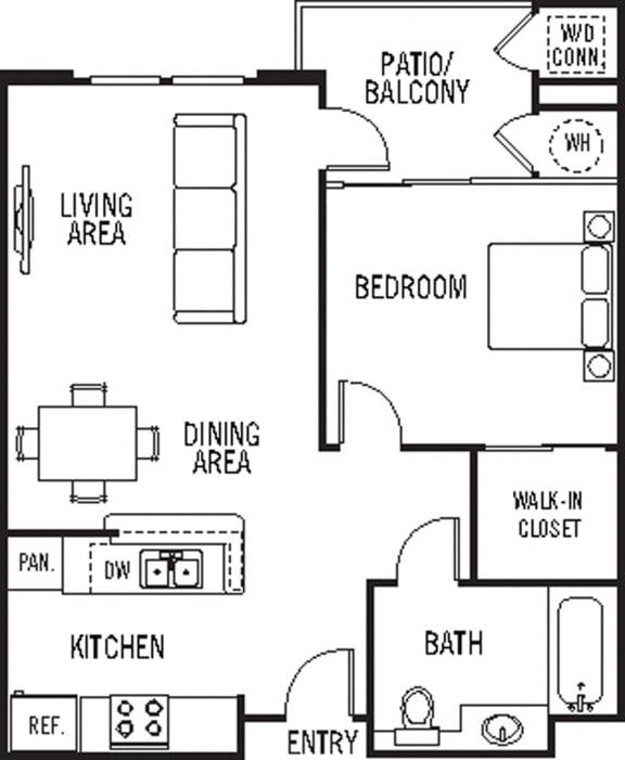 Floor Plan  Ana Capa 1Bed_1Bath at 55+ FountainGlen Stevenson Ranch, Stevenson Ranch, CA, 91381