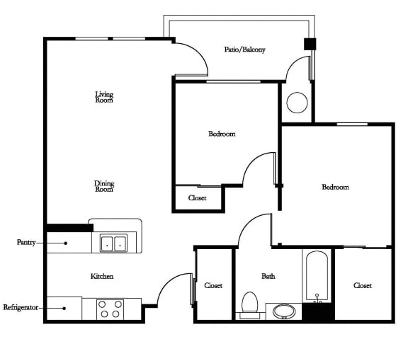 Floor Plan  McIntosh 2Bed_1Bath at 55+ FountainGlen Temecula, Temecula, California