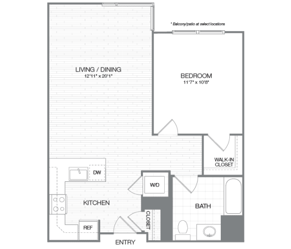 Washington - 1 Bedroom 1 Bath Floor Plan Layout - 790 Square Feet
