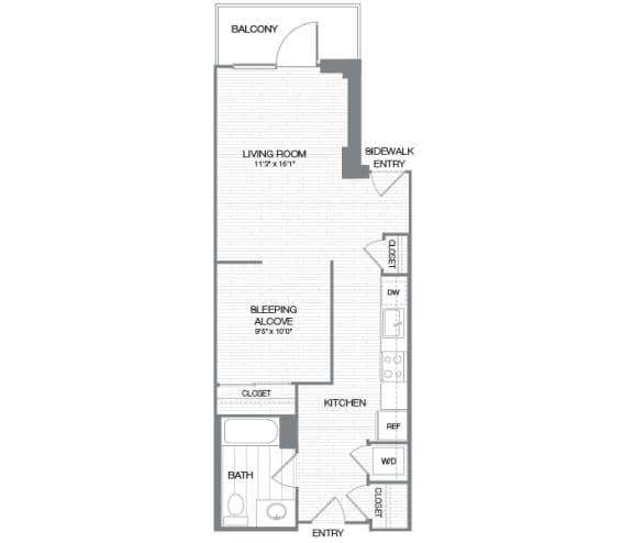Wilson - 0 Bedroom 1 Bath Floor Plan Layout - 634 Square Feet