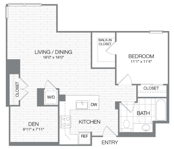 Adams - 1 Bedroom 1 Bath Floor Plan Layout - 913 Square Feet