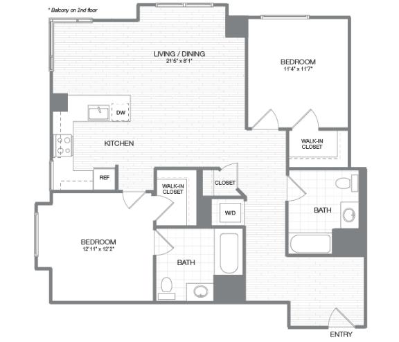 Eisenhower - 2 Bedroom 2 Bath Floor Plan Layout - 1131 Square Feet