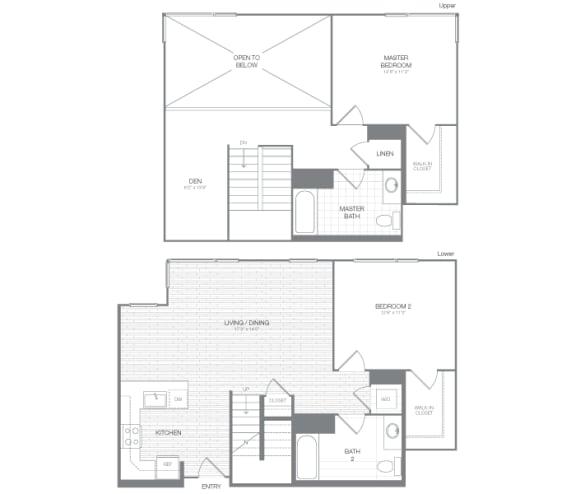 Harrison - 2 Bedroom 2 Bath Floor Plan Layout - 1416 Square Feet