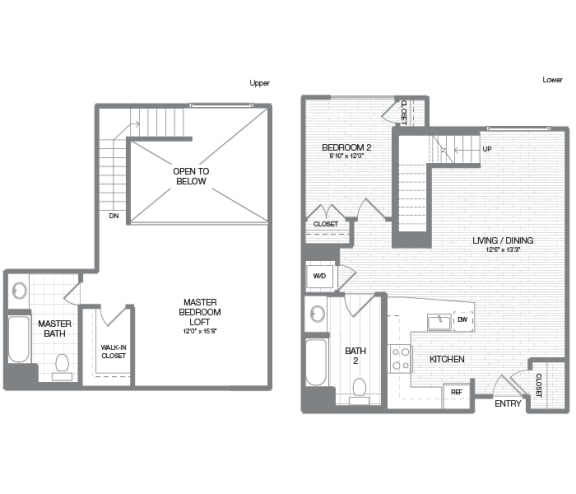 Truman - 2 Bedroom 2 Bath Floor Plan Layout - 1042 Square Feet