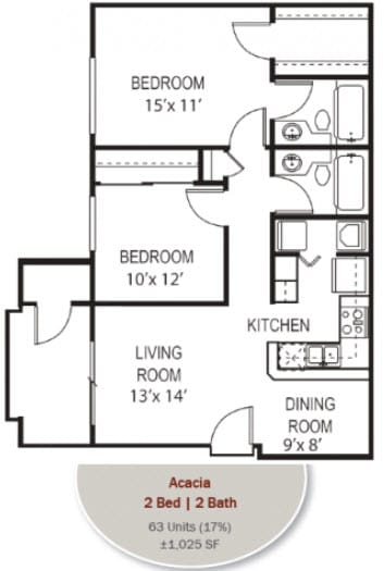 Acacia Floorplan at Garden Grove Apartments, Tempe, AZ, 85283
