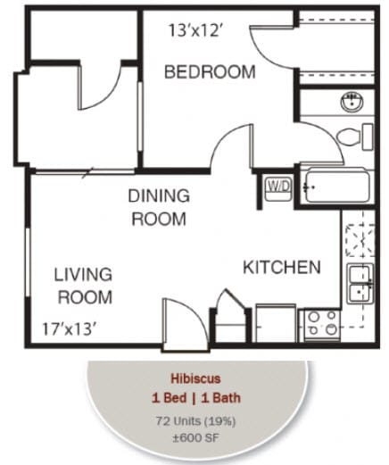 Hibiscus Floorplan at Garden Grove Apartments, Tempe, AZ, 85283