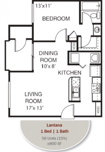 Lantana Floorplan at Garden Grove Apartments, Tempe, AZ, 85283