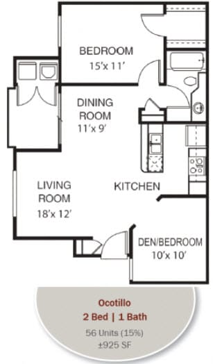 Ocotillo Floorplan at Garden Grove Apartments, Tempe, AZ, 85283