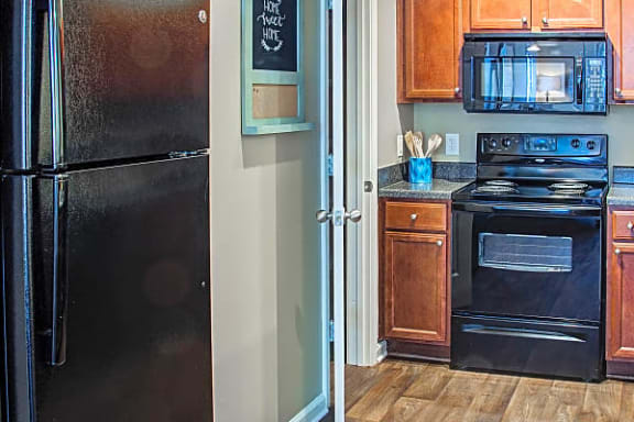black fridge, built-in microwave, and oven at Centerville Manor Apartments, Virginia, 23464