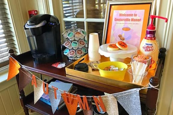 complimentary coffee bar with flavored coffees and creamer