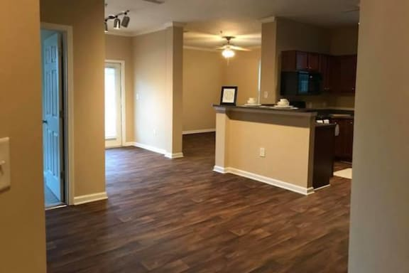 hardwood style floors in kitchen and living area at Centerville Manor Apartments, Virginia, 23464