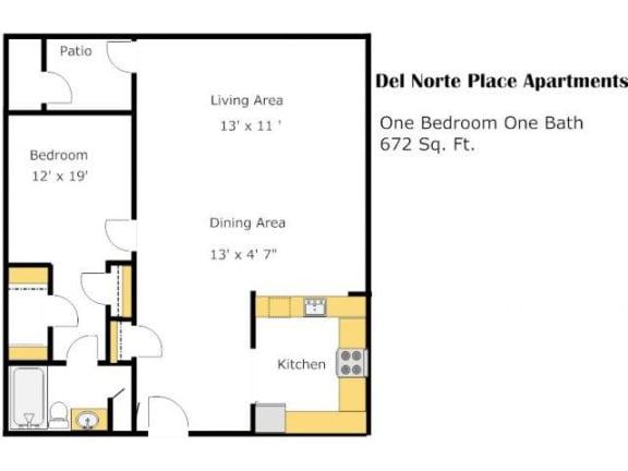 The Ambassador 1 Bed 1 Bath Floorplan at Del Norte Place, El Cerrito, California, 94530