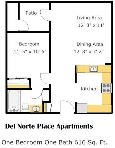 The Atlantic 1 Bed 1 Bath Floorplan at Del Norte Place, El Cerrito, CA, 94530