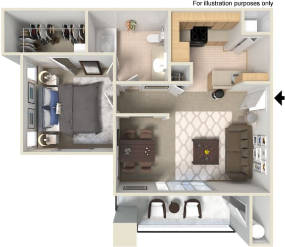 A2 1 Bed 1 Bath Floor Plan at Waterstone Apartments, Tracy, CA 95377
