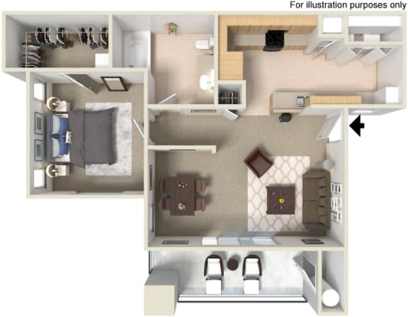 A1 1 Bed 1 Bath Floor Plan at Waterstone Apartments, California