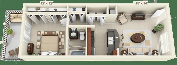 Floor Plan  1 Bed 1 Bath - XL - Full Fall 2020, opens a dialog