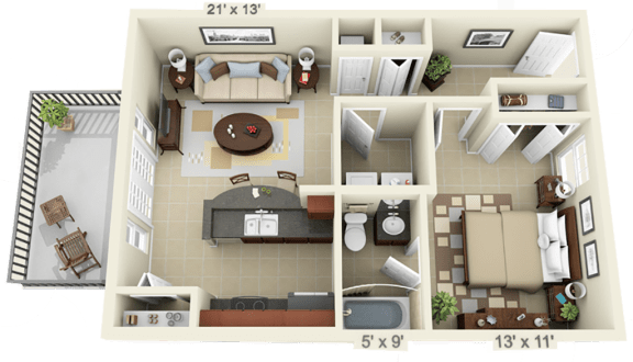 Floor Plan  1 Bed 1 Bath - Large - Full Fall 2020, opens a dialog