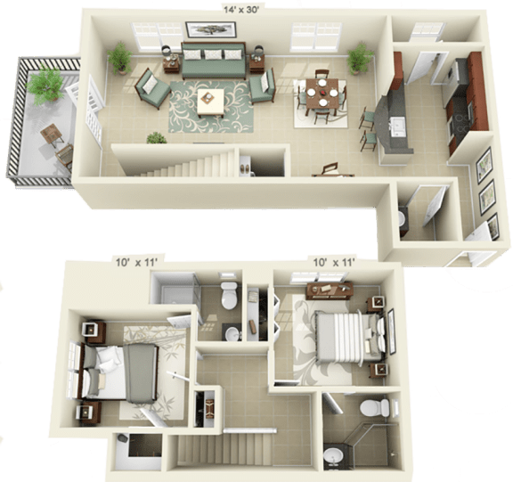 Floor Plan  2 Bed 2 Bath - Large - Full Fall 2020, opens a dialog