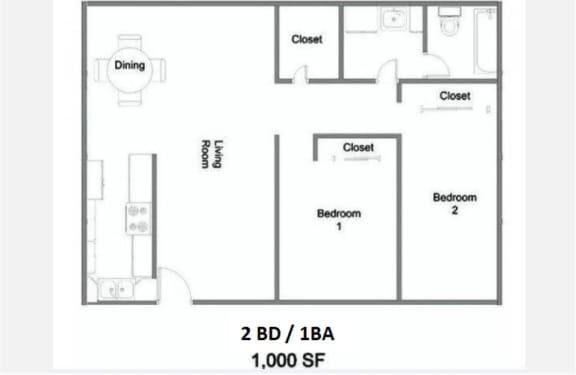 Floor Plan  2 Bedroom 1 Bath Floor Plan at The Marquee Apartments, NoHo, California