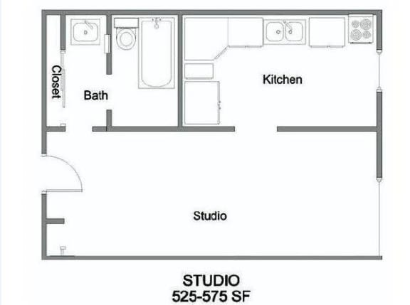 Floor Plan  Studio A Floorplan at The Marquee, North Hollywood, 91605