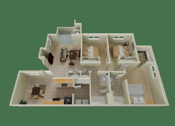 Floor Plan  Three  bedroom floor plan l Stonelake Apartments in Elk Grove CA, opens a dialog