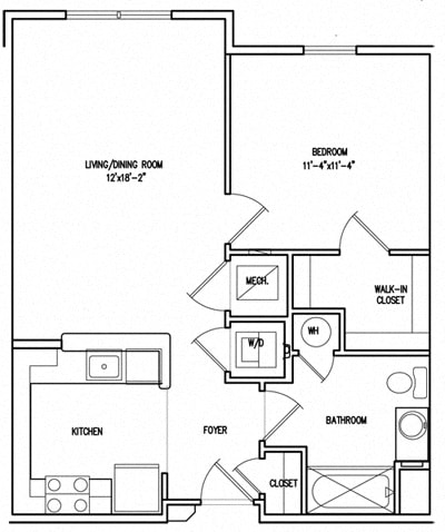 Floor Plan  Victory Court 1 Bedroom, 1 Bathroom Floor Plan