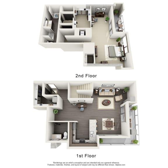 Floor Plan  1 Bedroom Townhome Floor Plan