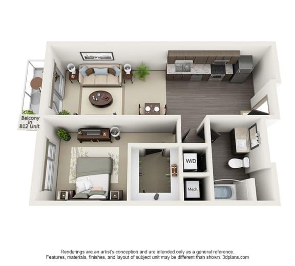 Floor Plan  1 Bedrooms Floor Plan at 1600 VINE, Los Angeles