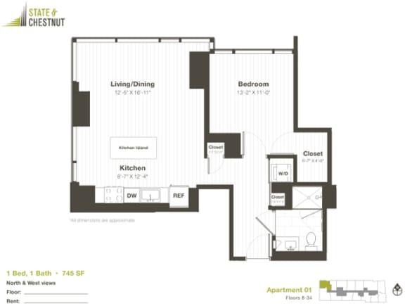 1 Bed 1 Bath Floorplan at State & Chestnut Apartments, Chicago, Illinois