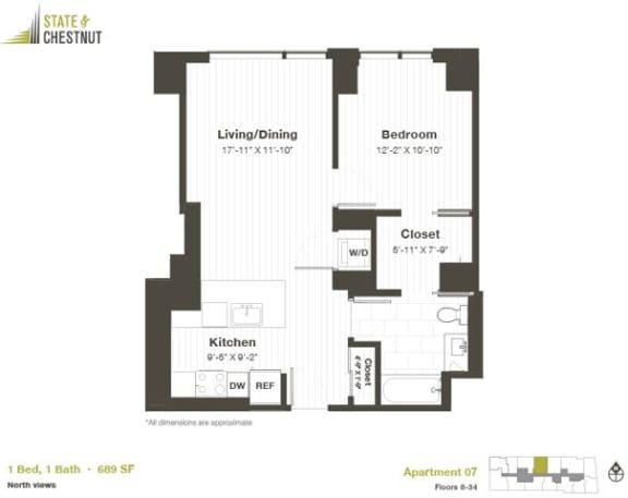 1 Bed 1 Bath Floorplan at State & Chestnut Apartments, Illinois, 60610