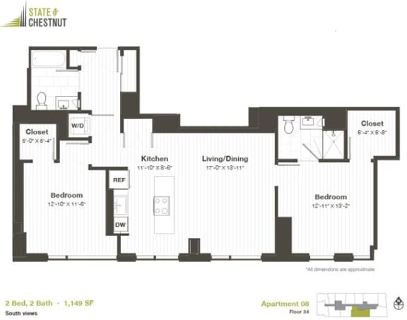 2 Bed 2 Bath Floorplan at State & Chestnut Apartments, Chicago, IL