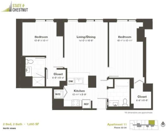 2 Bed 2 Bath Floorplan at State & Chestnut Apartments, 845 N State St, Chicago