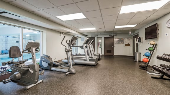 Fitness Center with Updated Equipment at Reside 707 Apartments, Chicago, Illinois
