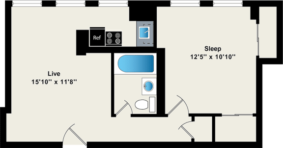 One Bedroom Floor Plan at Reside on Wellington