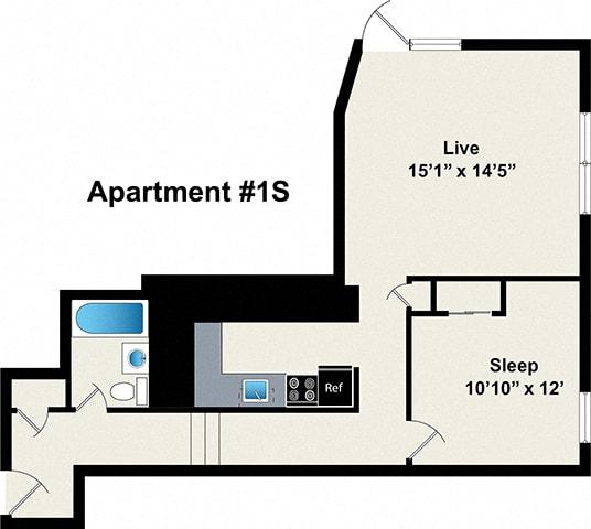 1 bedroom floor plan at Reside on Wellington