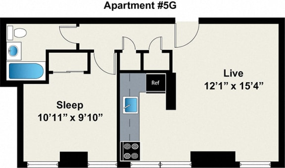 1 bedroom floor plan at Reside on Wellington