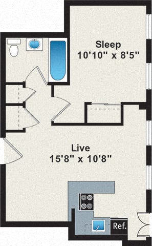 One-Bedroom floor plan