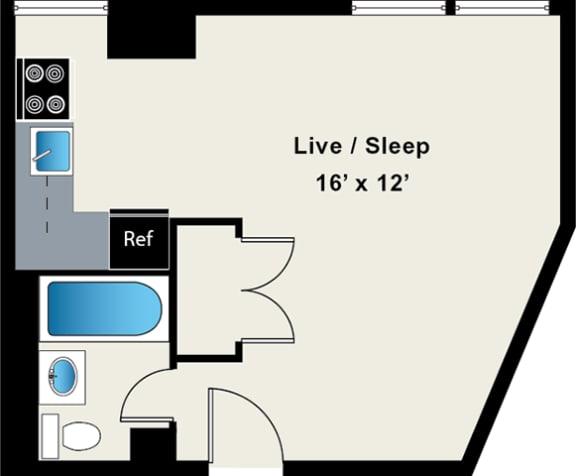 Reside on Wellington Studio Floor Plan 5D