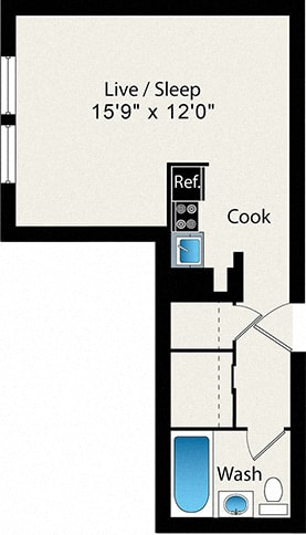 Reside on Wellington Studio Small Floor Plan