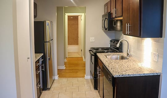 Renovated Kitchens at Reside at 2727 Apartments, Chicago, IL