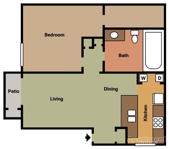 1 Bed 1 Bath A Floorplan at Terramonte Apartment Homes, 150 West Foothill Boulevard