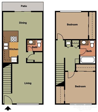 2 Bed 2 Bath Townhouse Floorplan at Terramonte Apartment Homes, Pomona, CA
