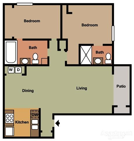Floor Plan  2 Bed 2 Bath A Floorplan at Terramonte Apartment Homes, Pomona, CA 91767