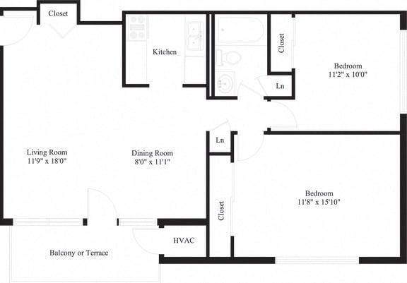 Camp Hill 2 Bedroom Apartment | Long Meadows Apartments | Property Management, Inc.