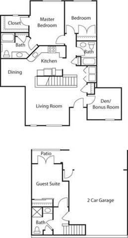Floor Plan  Townhouse with Den II- 55+ Adult Living Floorplan at Reunion at Redmond Ridge, 11315 Trilogy Pkwy NE