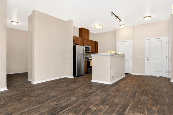Hardwood Floors in kitchen and living areas at Reunion at Redmongd Ridge in Redmond, WA
