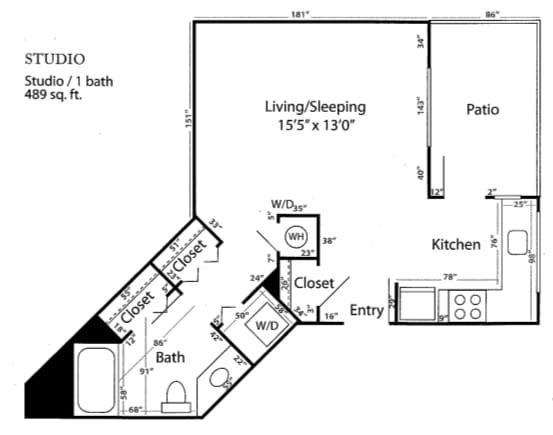 Studio Floor Plan at Reunion at Redmond Ridge, Redmond, WA